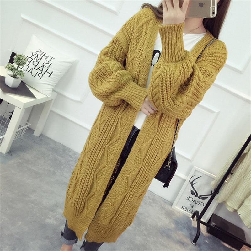 Autumn Warm Knitting Sweater Women Long Sleeve Cardigan Casual Loose Long Cardigans Female Coat Knitted Jumper knitting
