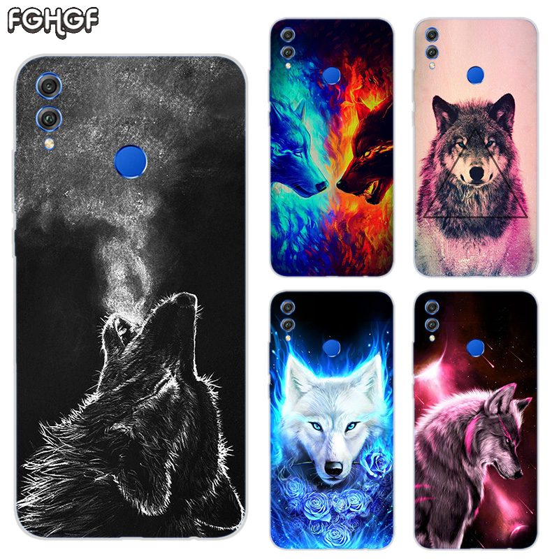 Starry animal wolf Frosted Fundas Soft <font><b>TPU</b></font> Print Case For <font><b>Huawei</b></font> <font><b>Honor</b></font> V20 8X 7 8 <font><b>9</b></font> 10 <font><b>lite</b></font> 7X 8A V9 V9 Play Cover image
