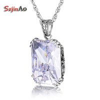 Szjinao 100% Real Silver 925 Pendant Necklace Zircon Sterling Sliver Jewelry Luxury Fine Jewelry Necklaces & Pendants For Women
