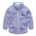 2-7 Возраст LittleSpring Хлопка Дети Мальчик Полосатой Рубашке Мода Осень Джентльмен Рубашки Европейский Стиль Формальные Мальчики Блузка Для общага