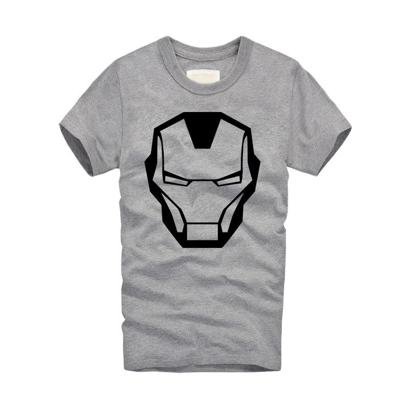 2016 new brand Fashion Cool Ironman Mask T Shirt Men Short Sleeve Cotton O-neck Super hero Iron Man T-shirt Tees Free Shipping
