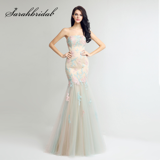 Beautiful Candy Color Lace Appliques Trumpet Evening Dresses 2017 Tulle  Strapless Elegant Women Long Prom Party Gowns LX267 3979160f10