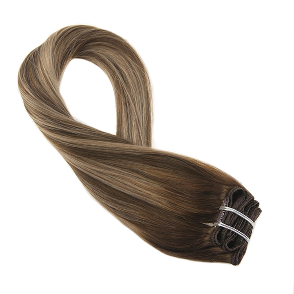 Moresoo Clip In Balayage Ombre Brown #4 Mixed with Caramel Blonde #27 Dip Dyed 7Pcs 100G 100% Real Remy Human Hair Extensions
