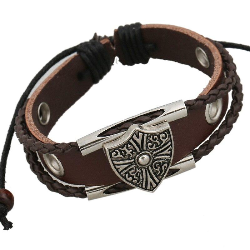 Kittenup Vintage Punk Style Brown Cowhide Bracelet For Men Leather Braided Snake Chain Alloy Shield Charm Bracelets