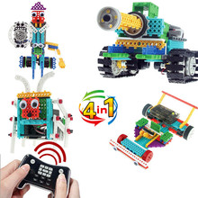 4 in 1 Remote control RC Tanks/Knight/6 foot insect/F1 racing car 237pcs Building blocks assembly electronic toy model kids gift