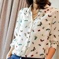 Новые Марка Длинным Рукавом Женщины Футболки Печати Blusas Femininas 100% Шелк Лацкан Случайные Блузки Для Женщин Мода Camisetas У Вершины