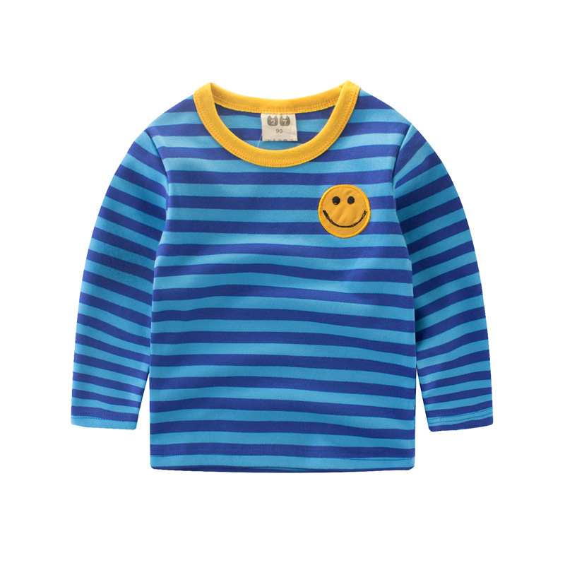 kids boy and girl t shirt long sleeve striped smile soft warm Tshirt children bottoming shirt top tee