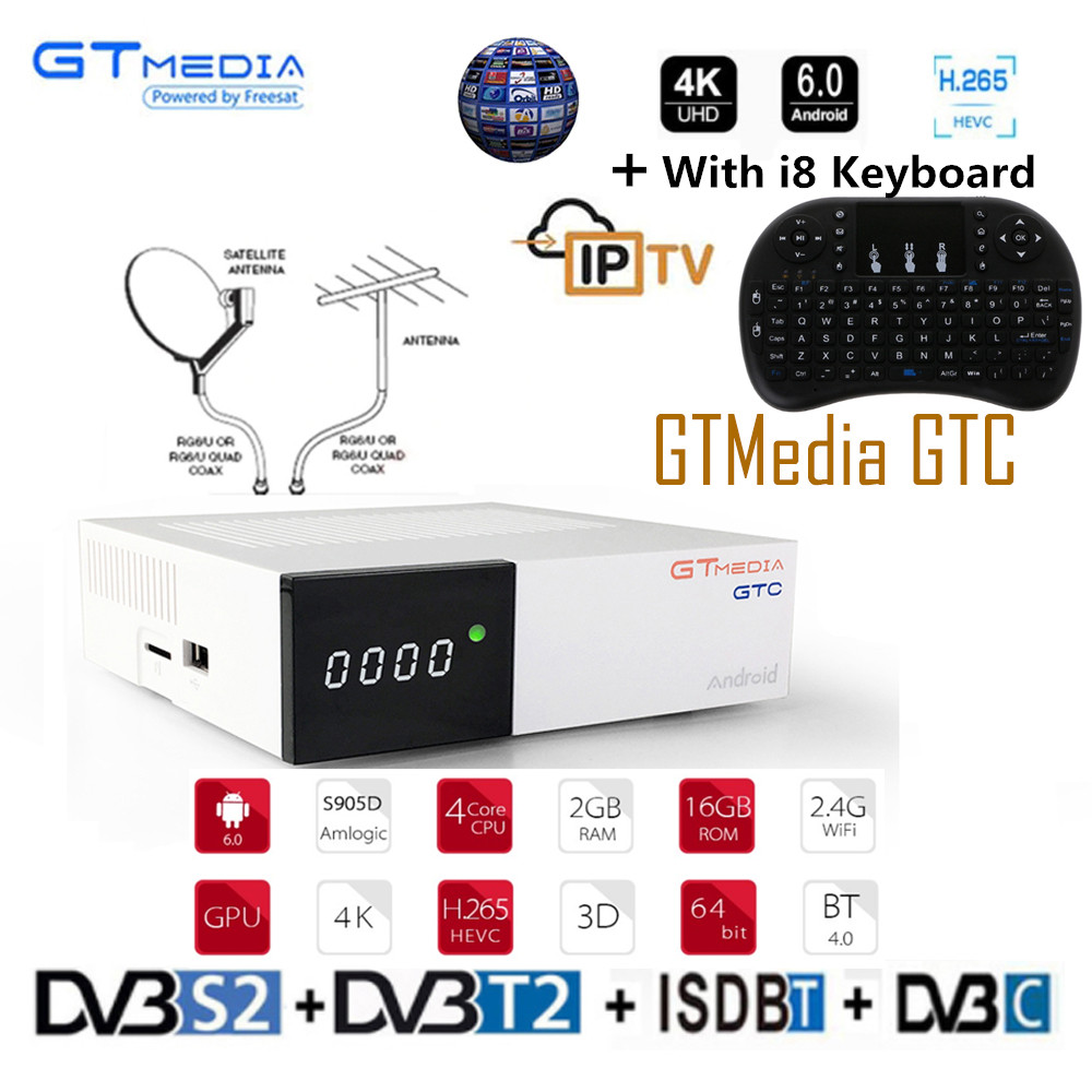 GTmedia GTC Satellite Receiver DVB S2 DVB C DVB T2 ISDB T Amlogic S905D android 6