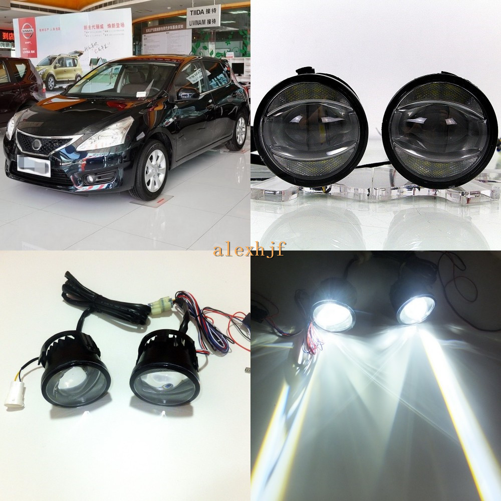 July King 1600LM 24W 6000K LED Light Guide Q5 Lens Fog Lamp +1000LM 14W Day Running Lights DRL Case for Nissan Tiida C11X SC11X for opel astra h gtc 2005 15 h11 wiring harness sockets wire connector switch 2 fog lights drl front bumper 5d lens led lamp