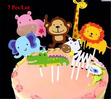 woodland animals cake topper tropical party decoration supplies cupcake toppers lion elephant cow monkey zebra giraffe topper(China)