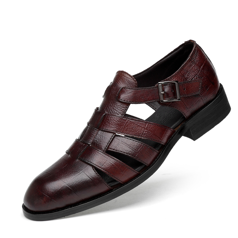 England Style Men Casual Cow Leather Sandals Young Gentleman Summer Shoes Outdoors Beach Sandal Zapatos De Hombre Sandalias Shoe
