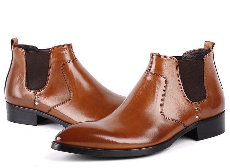 Vaca Trabajo Resbalón Alta Qyfcioufu Calidad Cuero Vestido Negro Zapatos Hombre En Genuino Moda Botas Negocios marrón De Casual qYY7x1RH