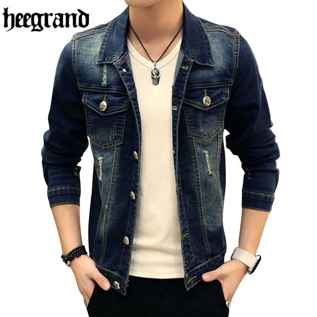 HEE GRAND Men Denim Jacket Men Autumn Spring Outdoors Casual Jeans Jacket  Men Fashion Men Coats 72860ceae2