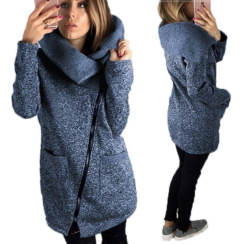ea3500f3a459 New Women Autumn Winter Coat Warm Jacket Slant Zipper Collared Long ...