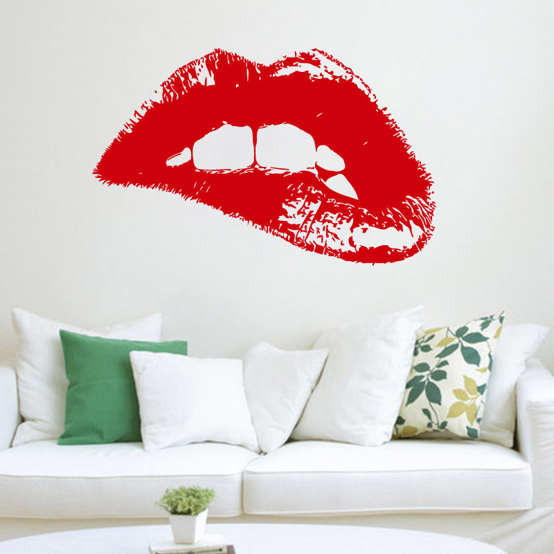 Moderne Conception Sticker Mode Femme Chaude Lèvres Vinyle Mur autocollants Art Décor À La Maison Salon De Beauté Boutique Fenêtre Ornement Mural ZA258