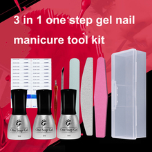 UV LED Gel Nail Polish 3 IN 1 One Step Nails Gel Soak Off Nail Lacquer Tool Kit 5ml 3pcs Set Can Pick Any Color Free Shipping