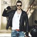 DK Marca Genuino de Los Hombres de Las Chaquetas de Cuero y Abrigos de piel de Oveja de Primavera Motocicleta outwear 61U7177