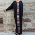 Preself Dresses New Women Loose Long Dress Vestidos O Neck Patchwork Batwing Sleeve Maxi Party Casual Fashion Girl Black Color