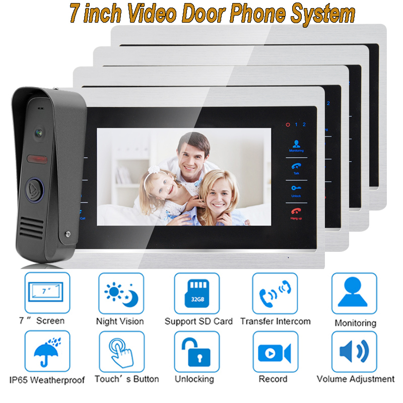 7 Inch Video Door Phone Monitor Intercom System Kit Night Vision 1200 TVL Doorbell Camera Recording SD Card Support 1V4 7 inch color tft video door phone doorbell intercom kit 2 camera 1 monitor night vision electric lock control mfbs