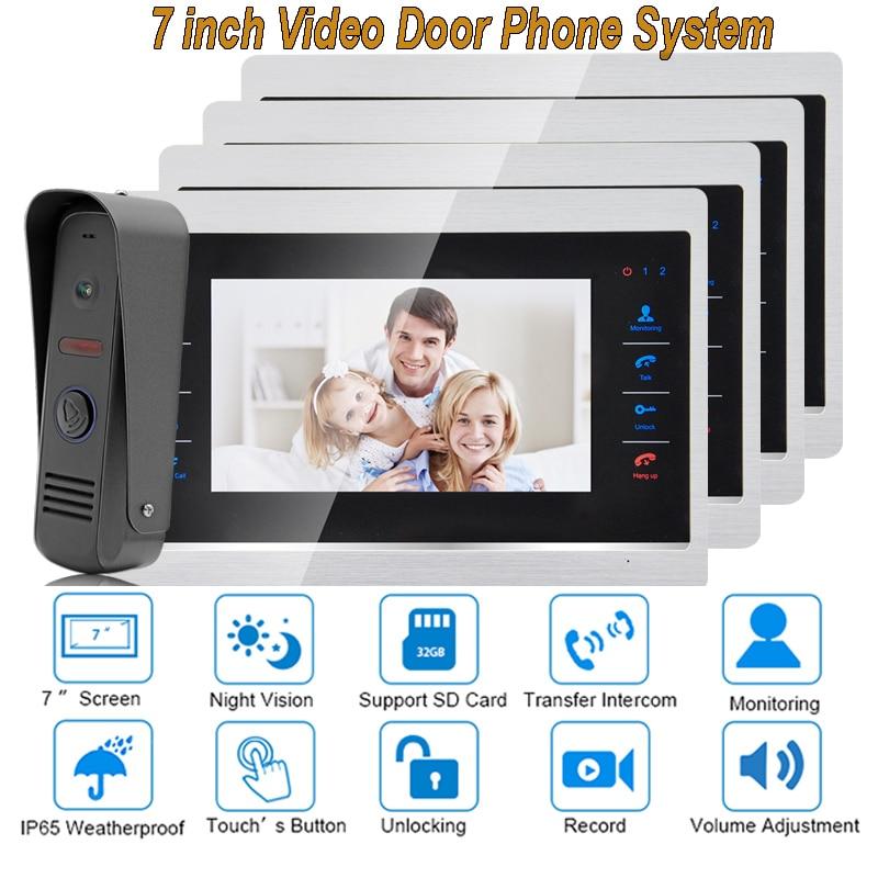 7 Inch Video Door Phone Monitor Intercom System Kit Night Vision 1200 TVL Doorbell Camera Recording SD Card Support 1V4