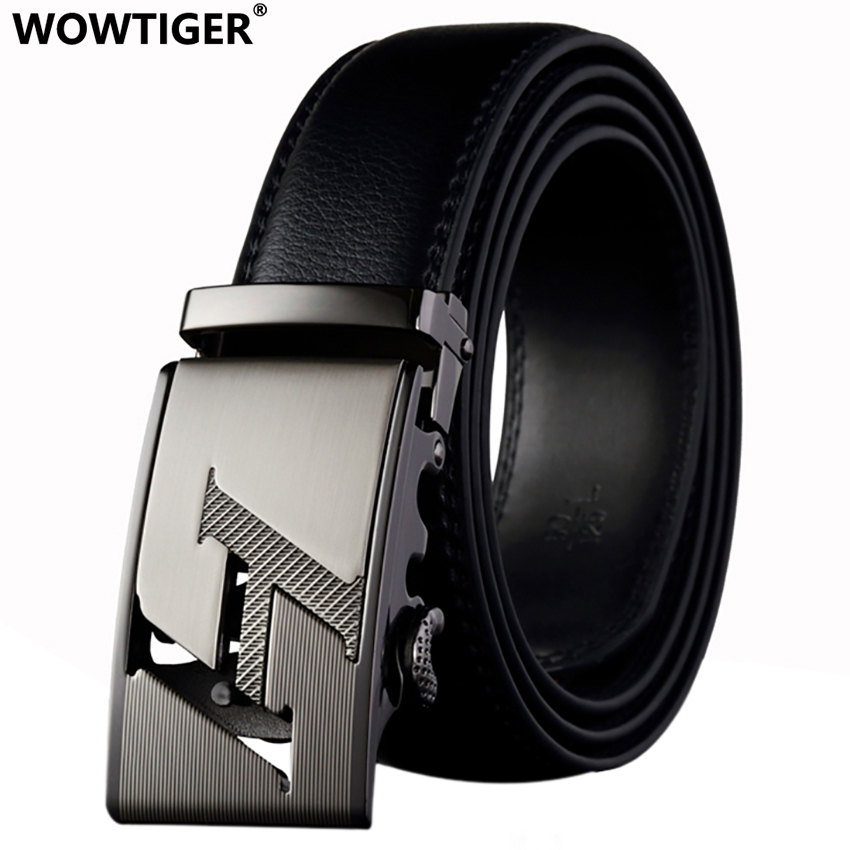 WOWTIGER Men's Belt Alloy Automatic Fashion Luxury Leather Belt Famous Brand Belts For Men