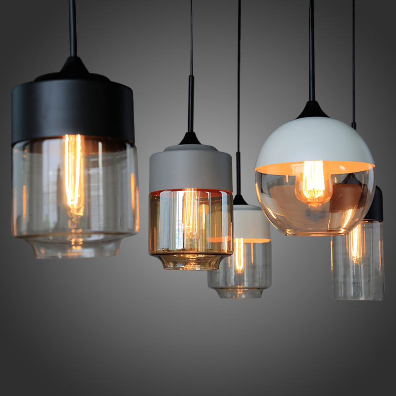 цены  Loft Simple Retro Edison Industrial Clear Glass Metal Pendant Lamp Lights for Cafe Bar Dining Room Shop Living Room Store Decor
