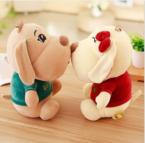 WYZHY couple sitting dog plush toy doll home decoration bed pillow to send parent child gifts 50CM