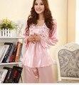 10 conjuntos rendas sono seda falso salão de seda de manga comprida feminina simulado rosa sleepwear pijama de seda de luxo