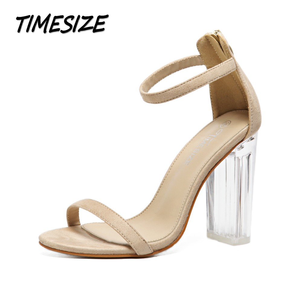 TIMESIZE women sexy star sandals ladies pumps high heels shoes woman Crystal Clear Transparent ankle strap party wedding shoes