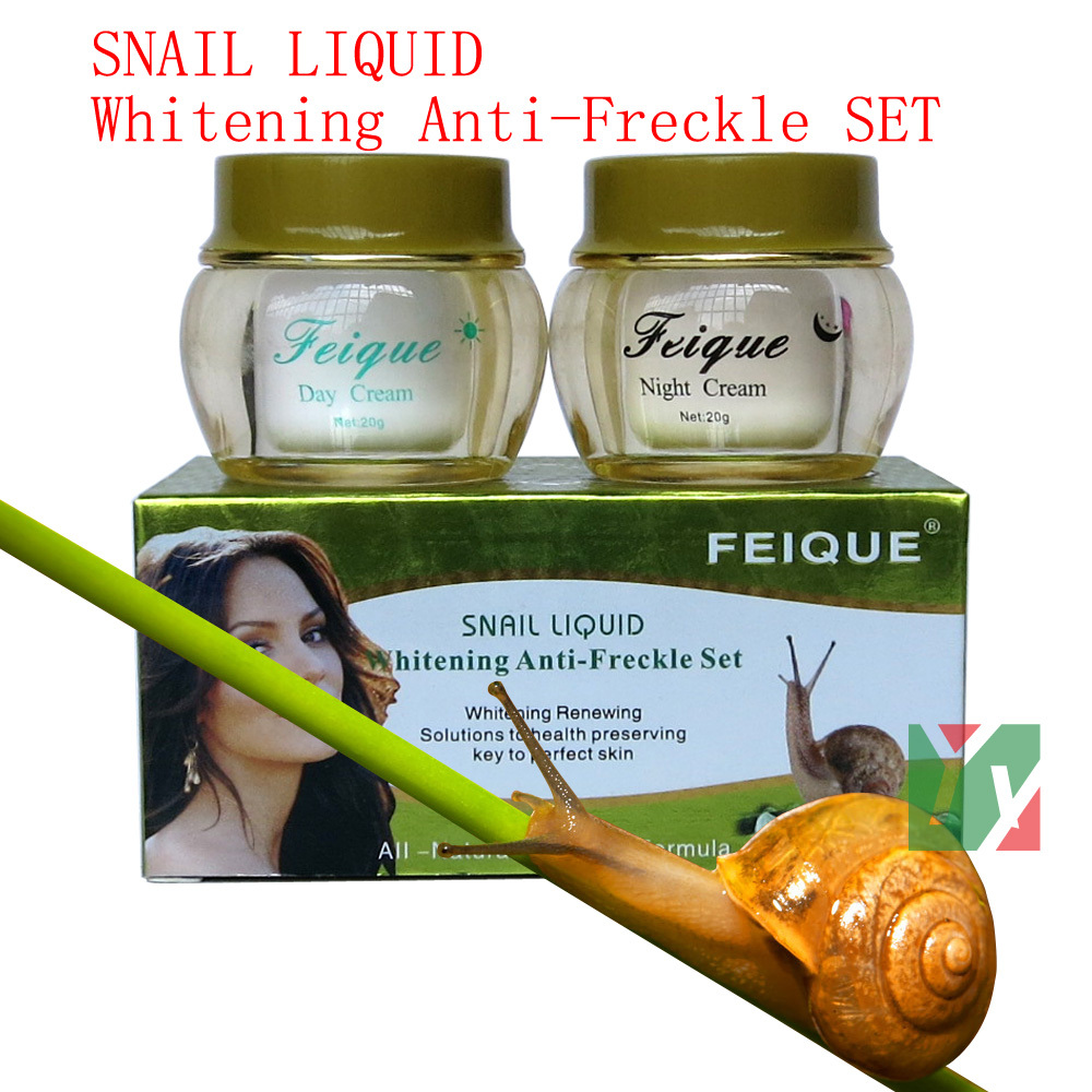 wholesale 2014 New Arrival FEIQUE snail liquid whitening anti freckle cream 20g+20g 50 sets/lot