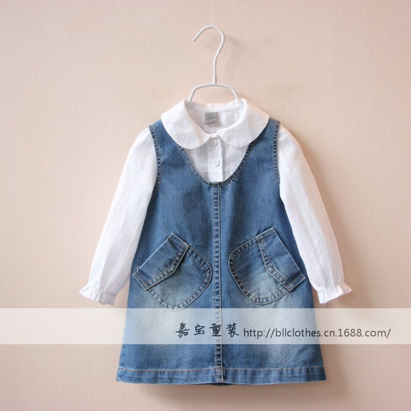 15477q3 two side pocket denim with shoulder straps childrens clothing wholesale