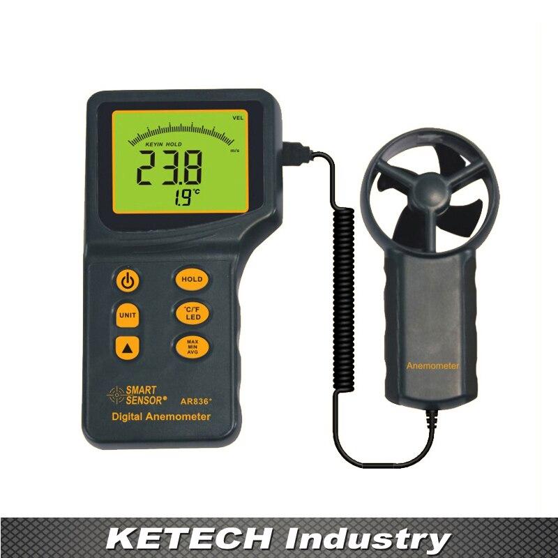 AR836 Handheld Digital Anemometer Wind Speed Meter 0.3~45m/s free shipping gm8901 45m s 88mph lcd digital hand held wind speed gauge meter measure anemometer thermometer