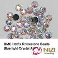 Moda Cristal Y Piedras Azul Claro AB del Cristal de Hierro En Strass DMC Hotfix Rhinestones Flatback Redondo de Cristal Para La Boda Diseños