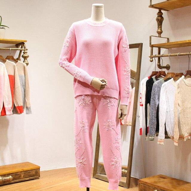 Европа весна тяжелый ручной Блесток Бисером Харен брюки трикотажные женщины костюм женский досуг свободные двух частей