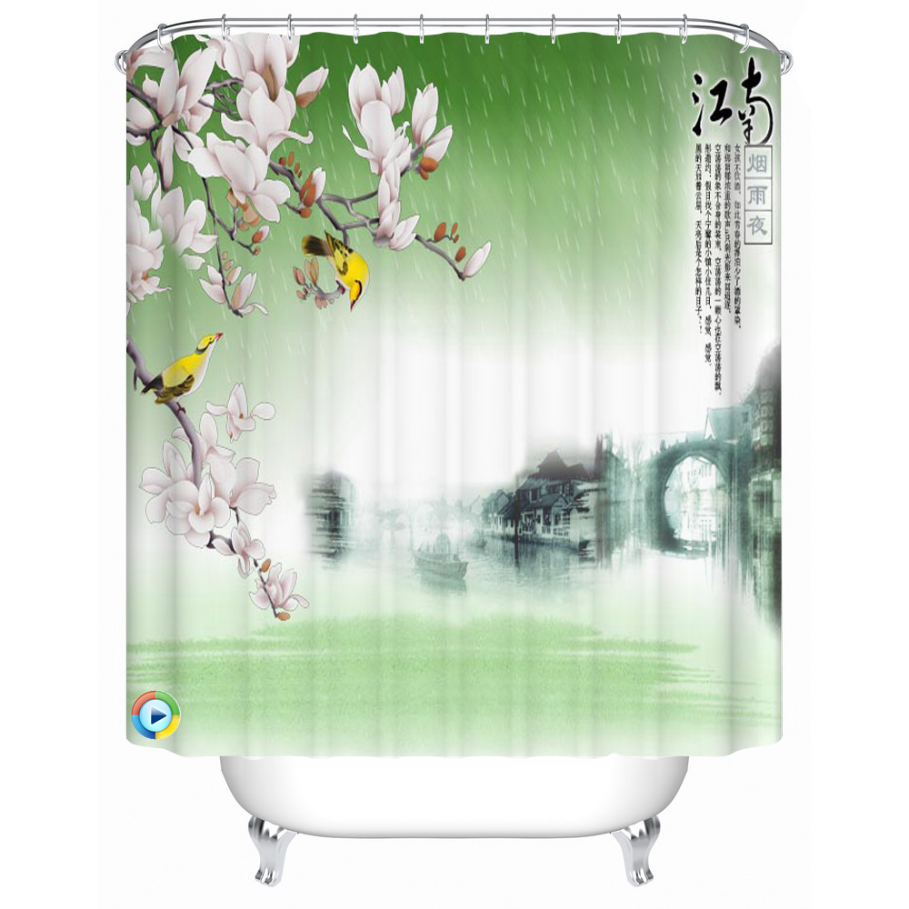 Custom printed shower curtains - Beach Shower Curtain Custom Printed Waterproof Fabric Polyester Bath Curtains Bathroom Decor Shower Curtain China