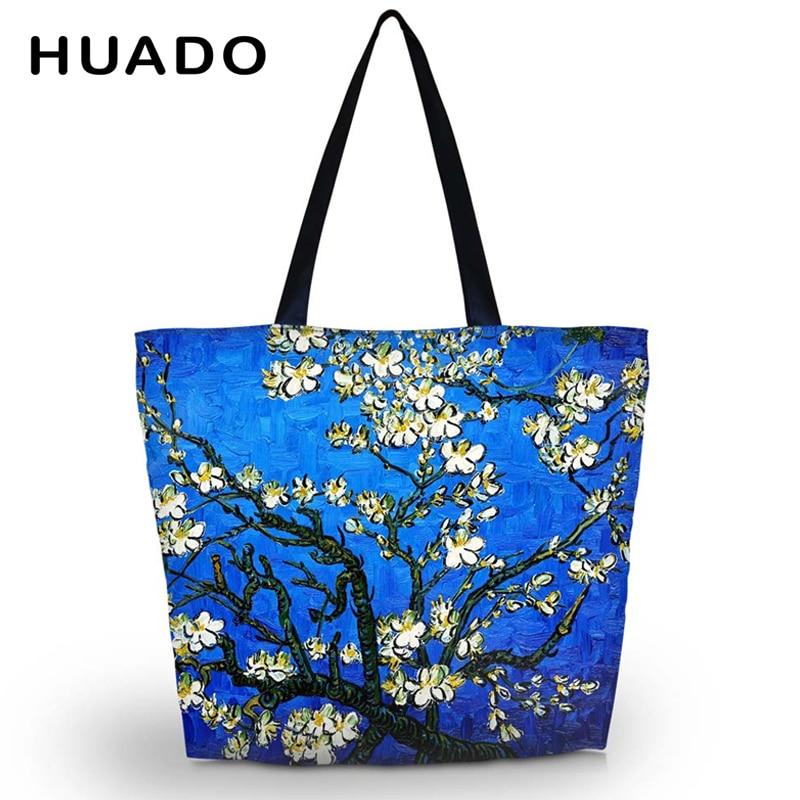 Van Gogh Soft Foldable Women's Shopping Bag Tote Shoulder Carry Bag Lady Handbag Pouch Zipper Closure Pocket Eco Reusable