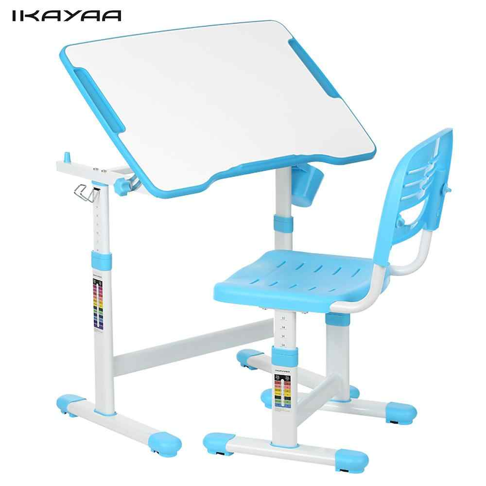 iKayaa Height Adjustable Kid's Study Desk Chair Set Tiltable Children Activity Art Table Set Work Station Metal Frame