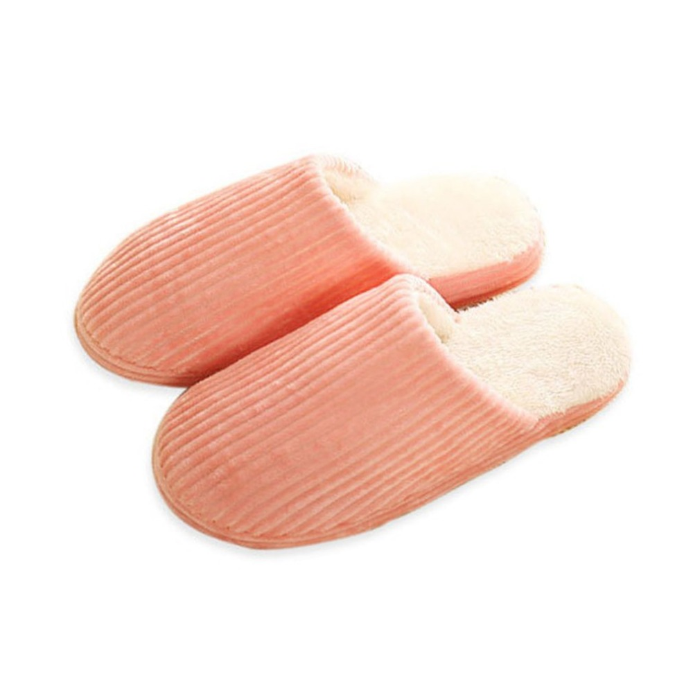 Super Soft Anti-skid Autumn And Winter Warm Cotton Striped Slippers Comfortable Plush Indoor Bedroom Couple Lovers Slipper