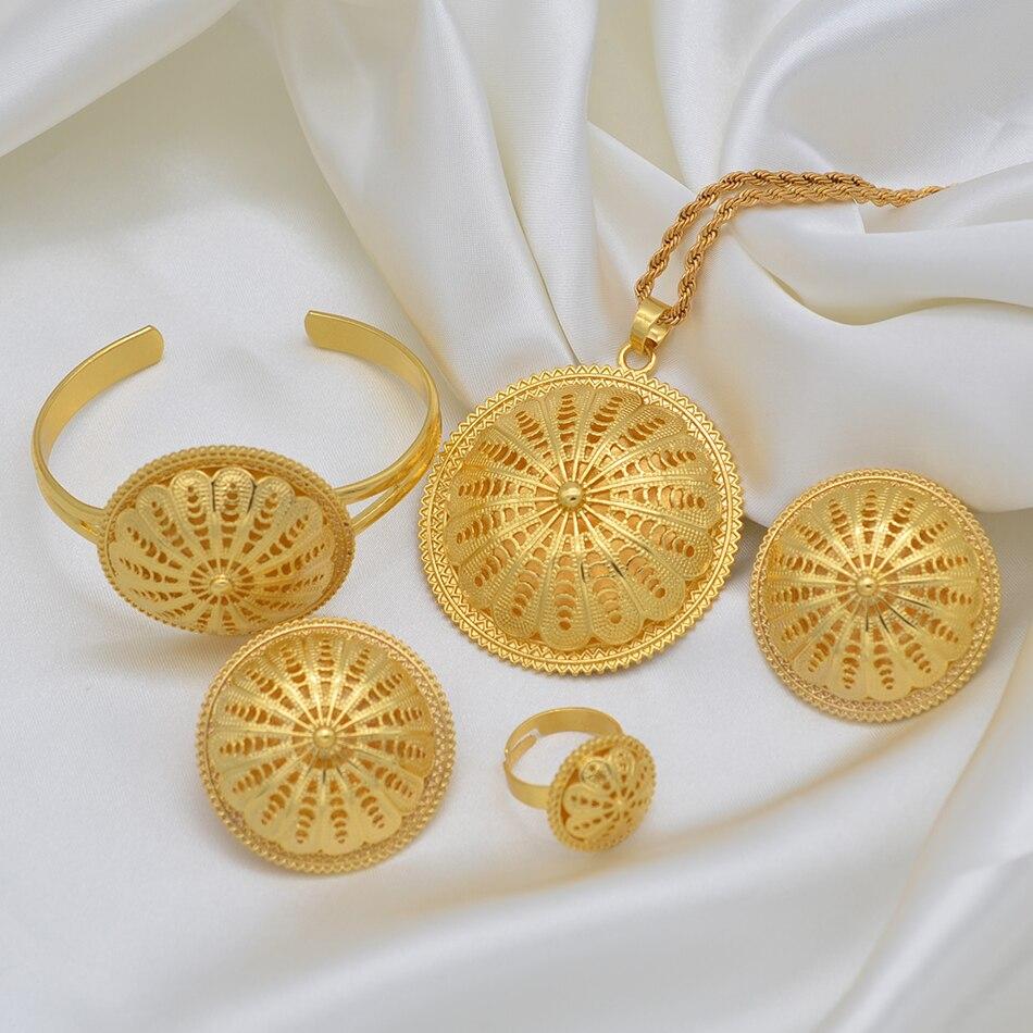 Anniyo Ethiopian Bride Wedding Jewelry sets Pendant Necklaces Earrings Ring Bracelet Women Eritrean African Party Gifts #207606