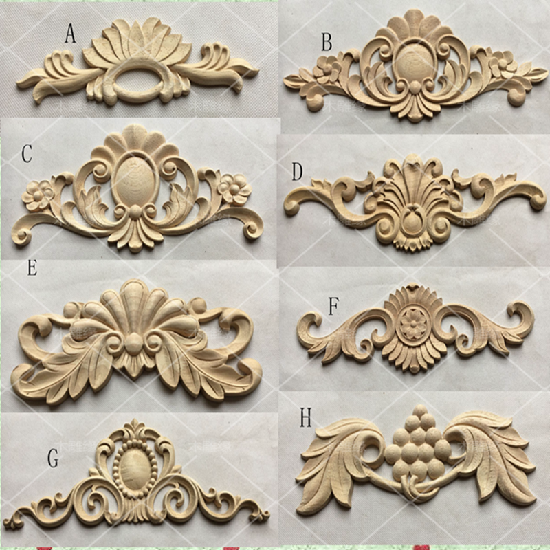 European style Wooden carvings decals Corner flower furniture Door Decoration(A768)