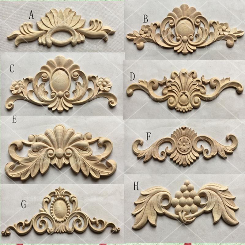 European Style Wooden Carvings Decals Corner Flower Furniture Door Decoration(A768)