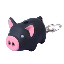 цена на Cute Pig Keyring Keychain LED Light Touching with Sound Car Bag Pendant Charm Decoration Gift (Black)