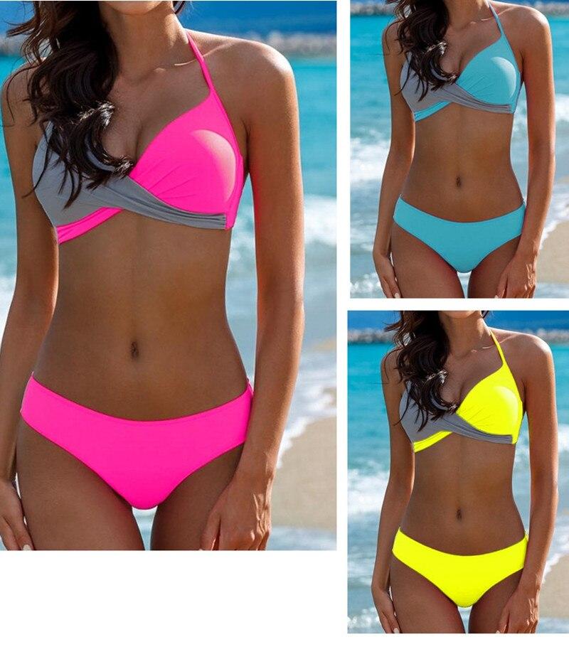 Plus Size 3XL Halter Bikini Set Sexy Low Waist Bikini Set Swimwear Women Swimsuit 2019 Women Bikini Halter Top Beachwear Biquini