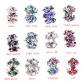 free shipping 1pc silver European round 13 colors crystal can choose big hole bead charm Fits Pandora Charm Bracelets A113