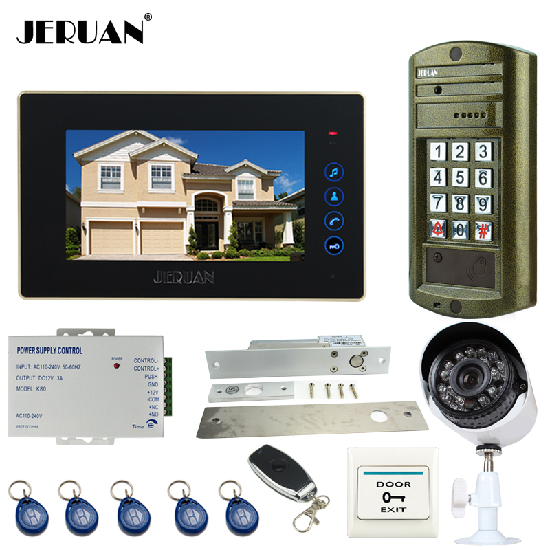 JERUAN NEW 7 inch touch key Video Intercom DoorPhone System kit Waterproof password keypad HD Mini Camera +Analog Camera 2V1 jeruan 8 inch lcd video doorphone recording intercom system kit new rfid waterproof touch key password keypad camera 8g sd card