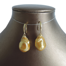 100% freshwater gold pearl earring with 925 silver hook -- AA gold Pearl,18-20 mm big baroque pearl earring цена и фото