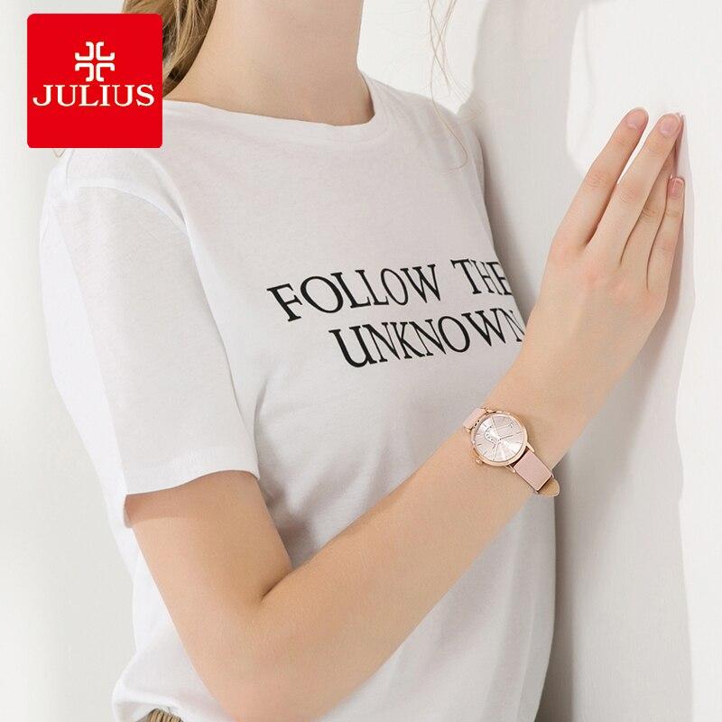 Julius montre Auto jour squelette femmes montre à Quartz haut pour femme marque de luxe femme montre-bracelet fille horloge Relogio Feminino JA-1076 - 5