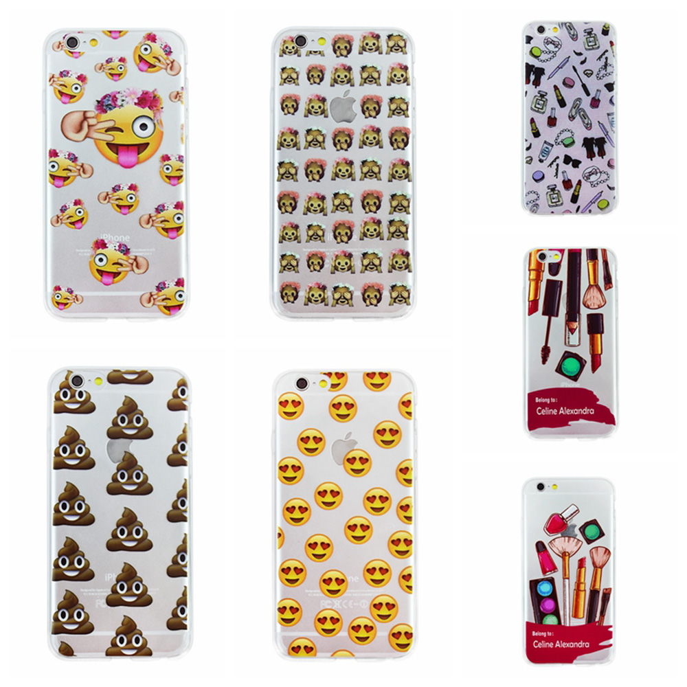 OWNEST Fashion Lovely Funny Emoji Case For iphone 7 7 Plus 6 6s 5 5s SE Transparent Soft Silicone tpu Cell Phone Cases Cover