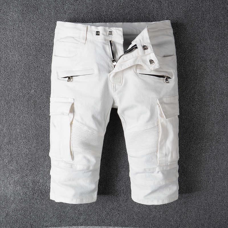Mens Celana Pendek Denim Slim Lubang Biasa Kasual Knee Panjang Pendek Jeans Celana Pendek Untuk Pria Baru Musim Panas Putih Slim Fit Ripped Pantai Celana Pendek Aliexpress