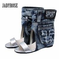 Jady Rose Women Summer Boots Denim Sandals Female Peep Toe Ankle Botas Gladiator Wedge Shoes Woman